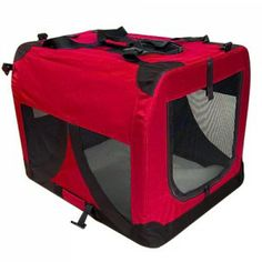 Large Portable Soft Pet Puppy Dog Crate Carriers Cage Kennel - Red