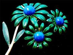 Emerald Green Sapphire Blue Enamel Flower Demi Set Brooch Earrings Vintage | eBay
