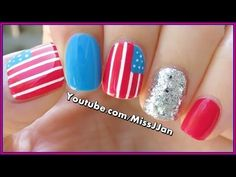 4th of July Nail Art - YouTube