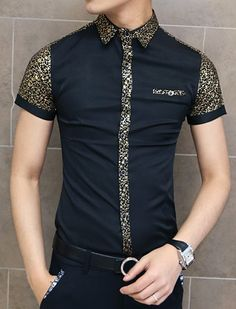 $13.36 Summer Style Turn-down Collar Slimming Floral Print Cuffs Splicing Short Sleeves Shirt For Men