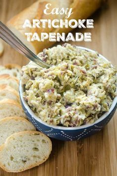 Easy Artichoke Tapenade is the perfect spread for breads, to add to sandwiches and is a must for cheese boards. Make it for your next party! Cold Appetizers, Vegetarian Appetizers, Savory Snacks, Appetizer Dips, Appetizers For Party, Appetizer Recipes, Italian Appetizers, Artichoke Recipes, Cooking Recipes