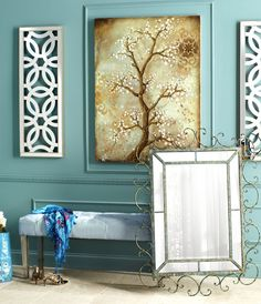 Pair floral prints with intricate mirrors Living room? Entryway Decor, Wall Decor, Wall Art, Foyer, Home Interior, Interior Design, Living Room Mirrors, Pictures To Paint, Home Furniture