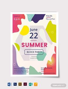 Block Party Flyer Word Document New 27 Summer Party Flyer Templates Psd Ai Vector Eps. New Years Eve Invitations, Party Invitations, Flyer Design Templates, Flyer Template, Booklet Design, Flyer And Poster Design, Design Posters, Restaurant Flyer, Printable Invitation Templates