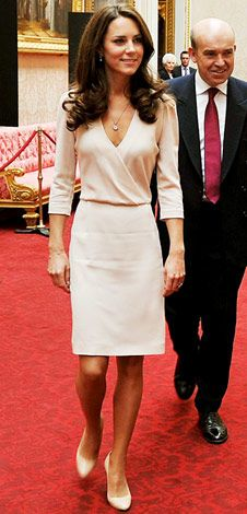 Duchess of Cambridge Catherine Middleton in a gorgeous understated cross-front dress