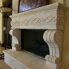 Idea: Set this mantel on top of Stone Fireplace wall for an elegant Rustic concept Stone Fireplace Mantel, Limestone Fireplace, Marble Fireplaces, Custom Home Builders, Custom Homes, Future House, Rustic, Hand Carved, Rooms