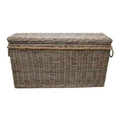 Lovely Driftwood Gray Rattan Wicker Blanket Storage Chest