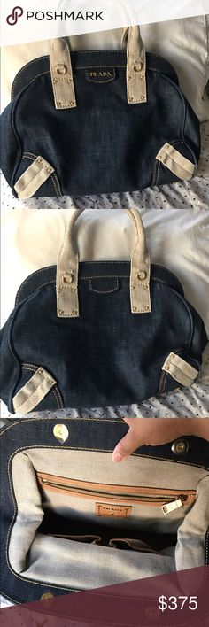 "Authentic Prada denim handbag Authentic Prada handbag  I bought this bag long time and used only for a while .. I do not have dust bag or authenticity card lost them during the move to my new house .. :(  No damage on this bag , looks new :)  16W X 12""H Plz ask any question u may have :)  Make an offer :) LESS ON M Prada Bags Hobos"