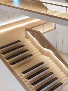 Dinesen Oak flooring at Design Museum - stairs close Stairs Architecture, Architecture Details, Interior Architecture, Tile Stairs, Wood Stairs, Marble Staircase, Design Museum London, Stair Lighting, Accent Lighting