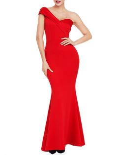 One Shoulder Plain Mermaid Evening Dress