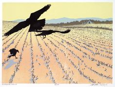 """""""Gleaning Crows"""", 5-color reduction linocut print by William H. Hays, 9"""" x 12"""""""