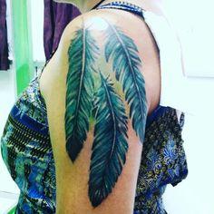 Feather#arm#tattoo#blessinkart