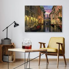 Photography Of Venice At Dusk In A Contemporary Living Room