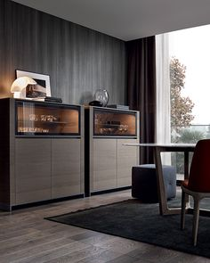 Febe sideboard in cenere oak, transparent reflecting glass flap door. Inner unit equipped with glass shelf and built-in led lamp.