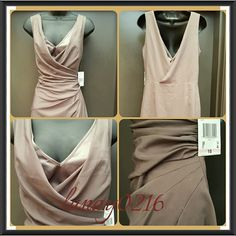 Anne Klein Gray Taupe Silk formal Dress 10 NWT Perfect for any formal event! Has gorgeous wrap style with double layered chest effect and back split. Retails for $99. Has small seam seperation. Please see last picture. Anne Klein Dresses Prom