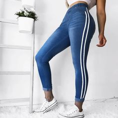 Fashion Women Plus Size Skinny Side Striped Jeans Mid Waist Pencil Pants Patchwork Casual Slim Denim Trousers Casual Jeans, Jeans Style, Elastic Jeans, Elastic Waist, Pants For Women, Clothes For Women, Trousers Women, Striped Jeans, Blue Denim