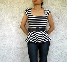 ON SALE Peplum Top Square Neck Shirt with Cap Sleeves made with Stretchy Knit Jersey petite tall plus size xs small med large xl 2x 3x 4x 5x on Etsy, $18.50