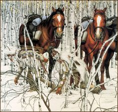 """This is only the far left of a wide picture don by Bev Doolittle called """"Two Indian Horses"""".  The original is a wide print of many horses in a row resting with a Second Calvary soldier walking off in the other direction. (Pinned above) My all time favorite of her work.  Brilliant artist!"""