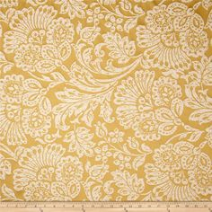 Richloom Brahma Jacobean Jacquard Gold from @fabricdotcom  This medium weight jacquard fabric is perfect for window treatments (draperies, curtains, valances), accent pillows, duvet covers, and upholstery. Colors include beige and gold.
