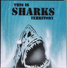 San Jose Sharks Territory Original Stencil Art on by adamvalentino, $25.00 Spray Paint Stencils, Aerosol Spray Paint, Acrylic Spray Paint, Stencil Painting, White Paint Pen, Black Spray Paint, White Paints, Cool Sharks, San Jose Sharks