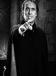 Christopher Lee as Count Dracula. My first Dracula crush back in the day. He's still got massive sex appeal!