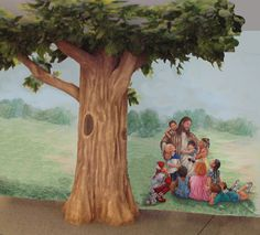 painted tree. This should be painted in a kids Sunday school room at the church. Love it.
