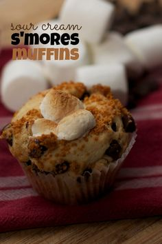 Sour Cream S'mores Muffin Recipe - Easy to Make with Kids