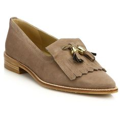 Stuart Weitzman Metaltass Suede Oxford Loafers ($415) ❤ liked on Polyvore featuring shoes, loafers, apparel & accessories, hazel, suede oxford shoes, oxford loafers, slip on shoes, tassle loafers and slip-on loafers