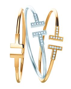 Tiffany T wire bracelets in 18k yellow and white gold with and without diamonds.