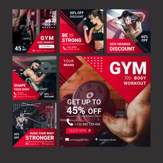 Gym club banner with photo Free Vector Social Media Ad, Social Media Banner, Social Media Template, Social Media Design, Graphic Design Services, Ad Design, Exhibit Design, Booth Design, Vector Design