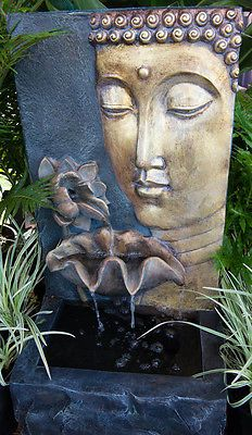 Outdoor Garden Water Feature Gold Buddha Face Flower Leaf Cascading Fountain
