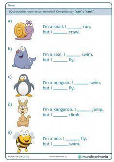 """Can"" y ""Can't"" - Mundo Primaria English Activities For Kids, English Grammar For Kids, English Phonics, Learning English For Kids, Teaching English Grammar, English Worksheets For Kids, English Games, English Lessons For Kids, Kids English"