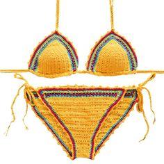 Womens Handmade Crochet Beach Swimsuit Summer Cover Up Knitted Bikini Swimwear 2pc Set
