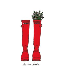 Hunter Boots (Red)- 5x7 Illustration Print, $13