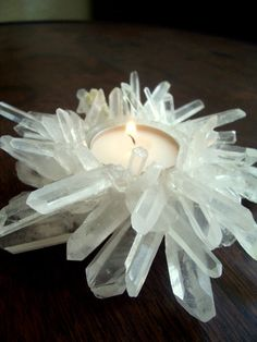 Quartz candle holder. inspiration. need epoxy. planning on making a planter for an air plant.