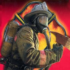 fireman, axe, breathing mask, air tank, helmet, fire symbol, fire