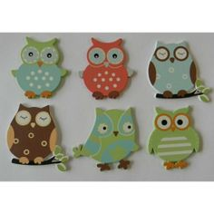 paint wood owl | Painted Wooden Owl Embellishments Set of 6