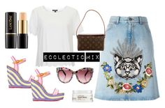 """Ecclectic Mix"" by retrosam76 ❤ liked on Polyvore featuring Sophia Webster, Gucci, Carol's Daughter, Topshop, Lancôme, Louis Vuitton, louisvuitton, gucci and catskirt"