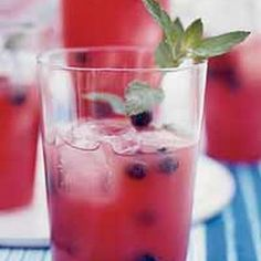 Watermelon Tequila Cocktails: ¼ cup Water, 1/4 cup Granulated Sugar, 8 cups diced seedless Watermelon (1 pound), 1/4 cup fresh Lime Juice, cups Blueberries, ¾cup lightly packed fresh mint leaves, plus 8 sprigs for garnish 1¼ cups silver tequila