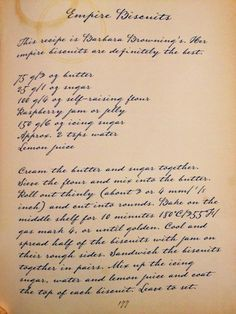 Empire biscuit recipe, hopefully you can read it otherwise I can type it out (the cup stains are part of the book honest - its from Maw Broons cookbook) x