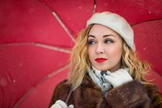 Evelina Kremsdorf BLONDE WOMAN IN FUR COAT WITH UMBRELLA Women Umbrellas Parasols, Blonde Women, Fur Coat, Winter Hats, Woman, Fashion, Moda, Fashion Styles, Women