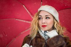 Evelina Kremsdorf BLONDE WOMAN IN FUR COAT WITH UMBRELLA Women Umbrellas Parasols, Blonde Women, Fur Coat, Winter Hats, Woman, Fashion, Moda, Patio Umbrellas, Fashion Styles