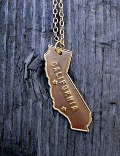 California Love Necklace in Gold with Chain by Windsday on Etsy, $12.00  Home sweet home!