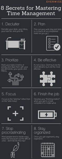 Secrets for Mastering Time Management(Infographic) We all need a little time management help. This infographic might helpand won't take much time :-)We all need a little time management help. This infographic might helpand won't take much time :-) Time Management Tips, Business Management, Time Management For Students, Time Management Activities, Policy Management, Office Management, Effective Time Management, Stress Management, Life Skills