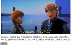 Kristoff is the first Disney Prince who ask the princess to kiss her. This is so adorable! I watched every single Disney movie to make sure it's true😂😂😂 Disney Pixar, Disney Marvel, Disney Jokes, Funny Disney Memes, Disney Facts, Disney Fun, Disney And Dreamworks, Disney Animation, Disney Magic