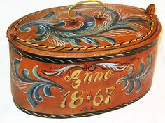 Norwegian 1867. These were used to carry lunch, and painted as a wedding or Jul gift