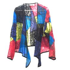 Chico's light jacket, colorful Colorful light jacket. Mismatch patterns. Worn best as the main piece of the outfit. Chico's Jackets & Coats Capes