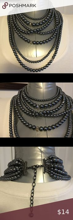 """NWT CHICO/'S SILVER TONE 3 STRAND CUT CRYSTAL 17/""""-20/"""" NECKLACE+EARRINGS SET"""