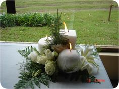 candle & flower arrangement