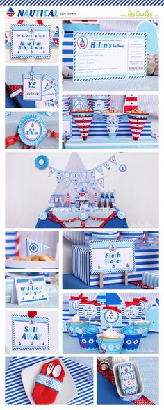 Nautical Baby Shower Package Collection Set Mega by LeeLaaLoo