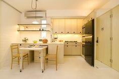 Apartments, Wonderful Hidden Lights Black Kitchen Appliances Modern Kitchen Cabinet Unique Pendant Lamp: Apartment Interior Arranged Innovatively As Ideal Dwelling